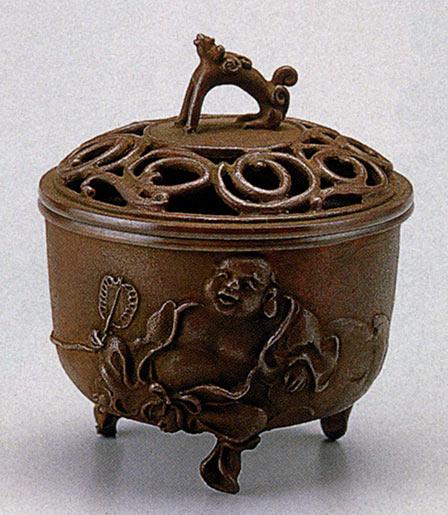 送料無料 香炉 布袋文 名取川 雅司 床の間 置物 仏具 銅 ブロンズ