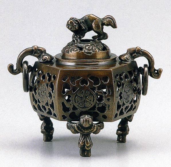送料無料 香炉 葵 かん付香炉 床の間 置物 仏具 銅 ブロンズ