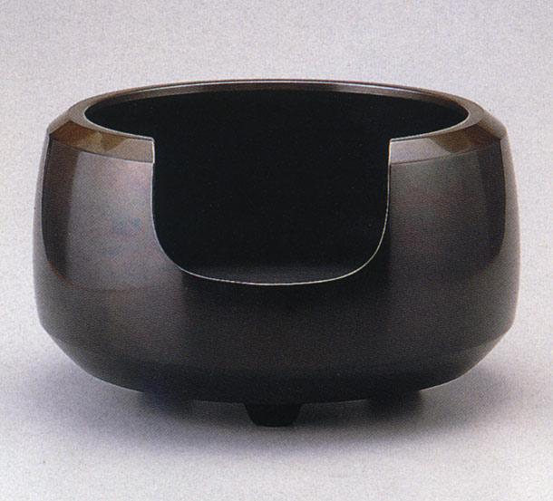 送料無料 通産大臣指定伝統的工芸品 面取風炉 般若宗勘 茶道具 床の間 置物 銅製 ブロンズ