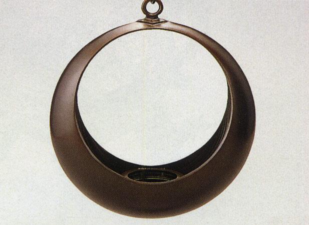 送料無料 10号 吊花生 満月 華道 華道具 床の間 置物 銅 ブロンズ