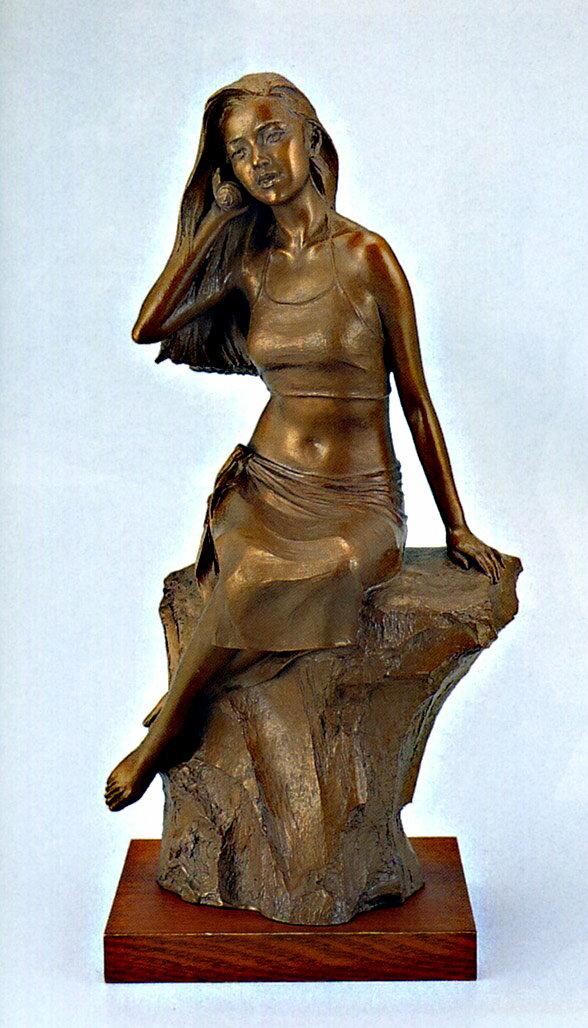 送料無料 潮風の唄 小 彫刻 銅像 和雑貨