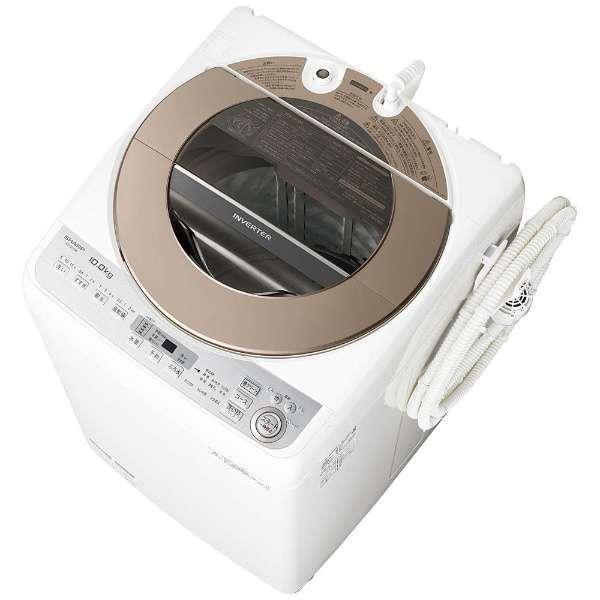 【送料無料】シャープ 洗濯機 縦型 ES-GV10B-T ブラウン系 全自動洗濯機 穴なし槽 洗濯10kg 節水 静か 低騒音 SHARP