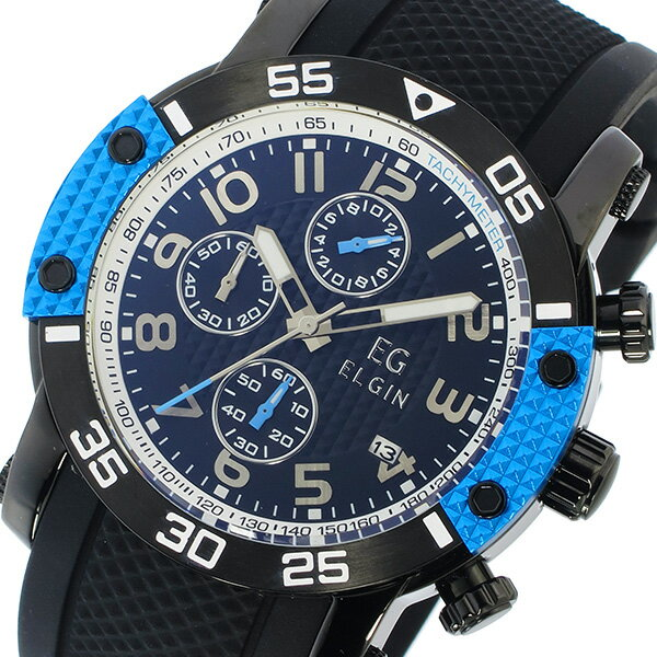 エルジン ELGIN クオーツ クロノ メンズ 腕時計 EG-001-BL ブルー