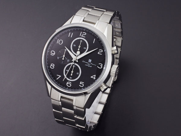 サルバトーレマーラ 腕時計 クロノグラフ メンズ SM14103-SSBKA ブラック×シルバー メタルベルト