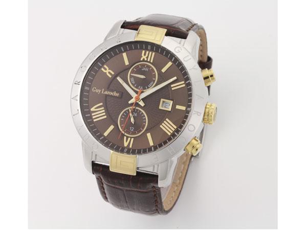 Guy Laroche ギラロッシュ マルチファンクション メンズ 腕時計 G3006-02 ブラウン×ゴールド レザーベルト