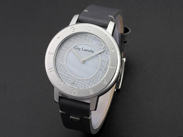 Guy Laroche ギラロッシュ スワロフスキー MOP レディース 腕時計 L1006-02 ホワイト×ブラック レザーベルト