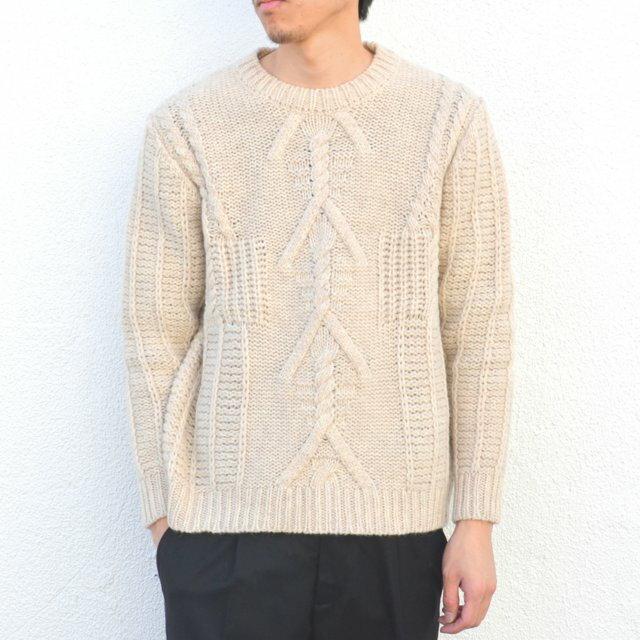 在庫あり今度最新入荷! MAISON FLANEUR(メゾンフラネウール)/ Cable knit sweater -(B6)NATURAL-