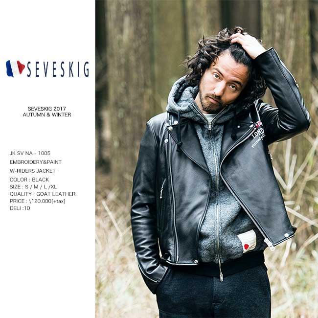 【予約】SEVESKIG セヴシグ EMBROIDERY&PAINT  W-RIDERS JACKET ライダースジャケット Y