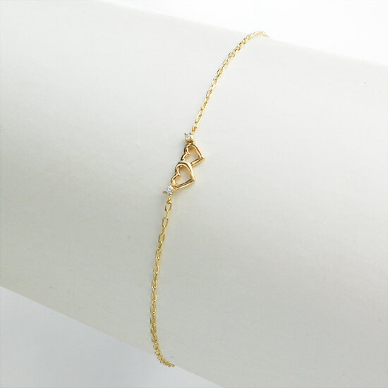 K10 ハート ダイヤモンド ブレスレット/送料無料