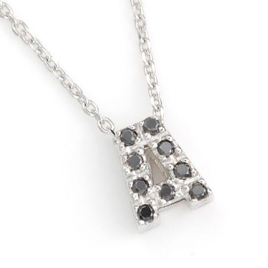 K10WG ブラックダイヤモンドイニシャル アルファベット ネックレス A201007A/送料無料