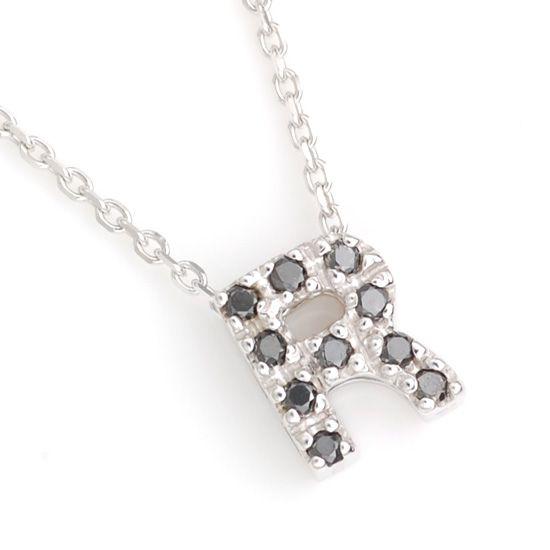 K10WG ブラックダイヤモンドイニシャル アルファベット ネックレス R201007R/送料無料