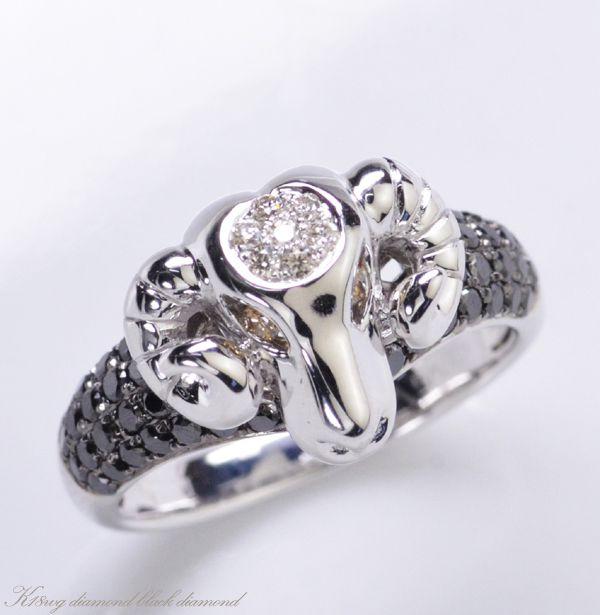 c7350c8d59 K18WG ダイヤモンド ブラックダイヤモンド 羊モチーフ リング/送料無料 激安セール