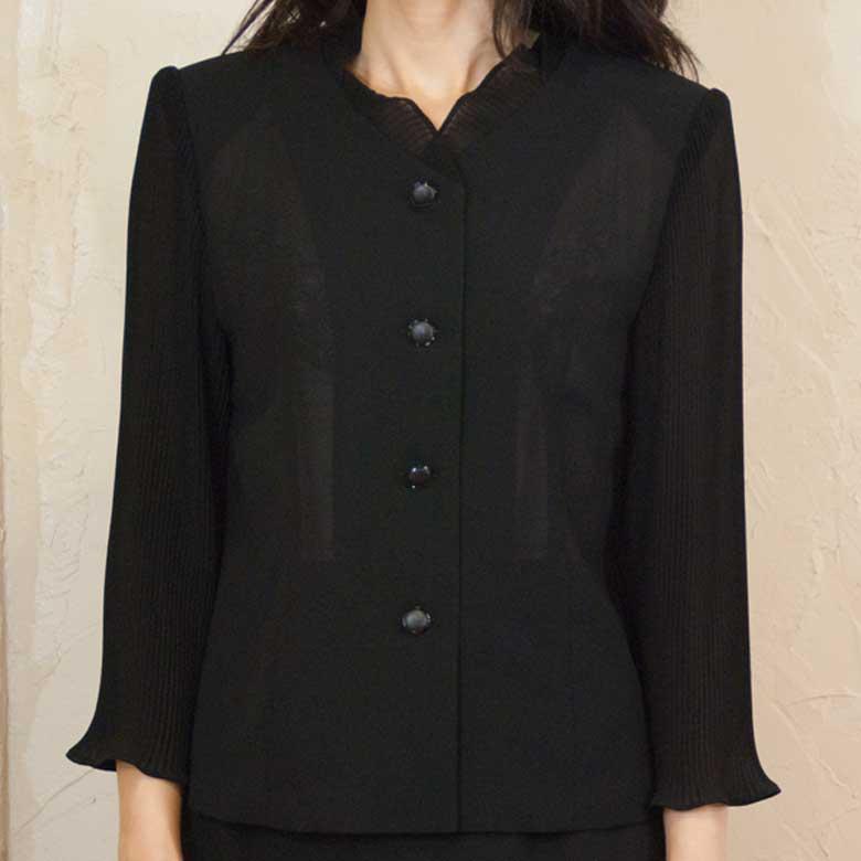 サマーブラッククフオーマル喪服バッグセットプリーツ袖ブラウス夏用 日本製単品