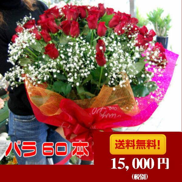 赤 バラ花束 60本還暦祝い 誕生日 ホワイトデー バレンタイン 記念日【RCP】【HLS_DU】【あす楽対応_関東】【楽ギフ_メッセ入力】