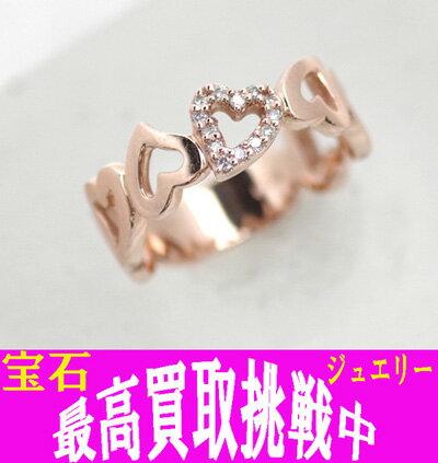 【ジュエリー】 K10PG ハート ダイヤモンド 0.08ct デザイン リング 10号 中古品【ギフト/贈り物/プレゼント/記念日】