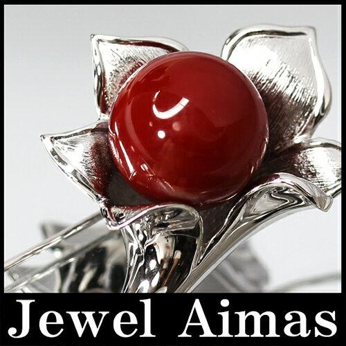 【ジュエリー】日本産血赤珊瑚 血赤サンゴ 血赤さんご 14.7mm ダイヤモンド 0.05ct ブローチ ペンダントトップ K14WG【中古】