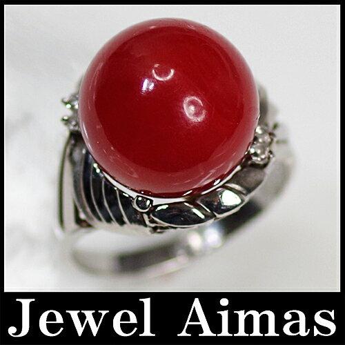 【ジュエリー】赤珊瑚 赤サンゴ 赤さんご 13.2mm ダイヤモンド 0.05ct リング 11.5号 PT900【中古】