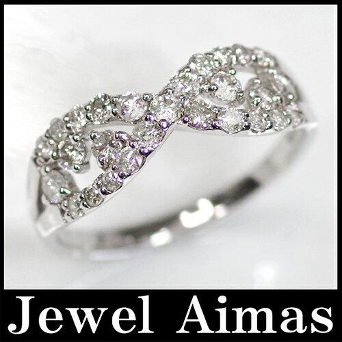 海外最新 【ジュエリー】ダイヤモンド 0.6ct デザイン リング 11号 K18WG【中古】