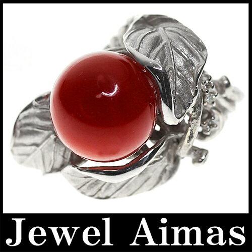 【ジュエリー】血赤珊瑚 血赤サンゴ 血赤さんご 14.6mm玉 ダイヤモンド 0.07ct リング 12号 K18WG <中央宝石>【中古】