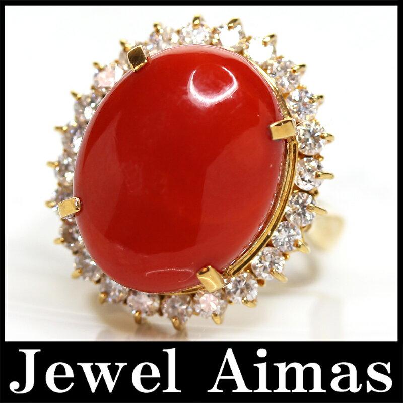 【ジュエリー】赤珊瑚 赤サンゴ H 17.1mm×W 13.7mm ダイヤモンド 1.14ct リング 11.5号 K18YG【中古】