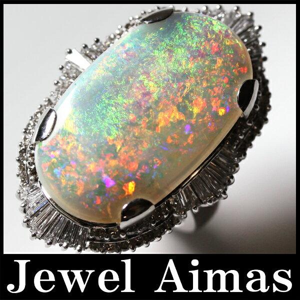 【ジュエリー】ホワイトオパール 9.5ct ダイヤモンド 1.97ct リング 13号 PT900 <遊色効果>【中古】