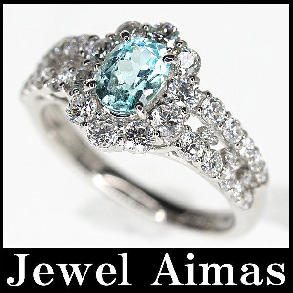 【ジュエリー】パライバトルマリン 0.767ct ダイヤモンド 1.12ct リング 13号 PT900【新品】