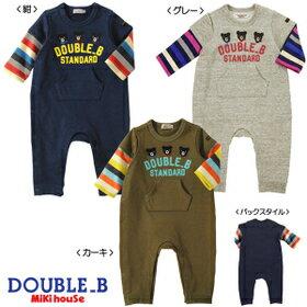 ダブルB(ベビー)DOUBLE.B mikihouseお袖がボーダーレイヤード風長袖カバーオール日本製(70cm、80cm)