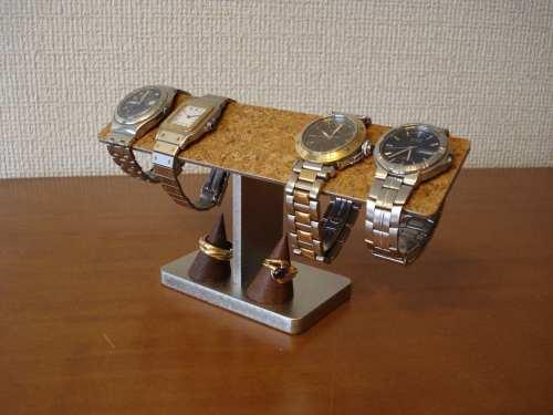 腕時計 スタンド 4本掛��ー腕時計スタンド 木製�ョコ色リングスタンド付�
