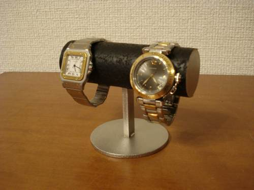 時計スタンド 送料無料丸台座2本掛け腕時計スタンド ブラック! WSD5866