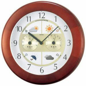 【EMPEX】掛け時計 ウォールクロック ウェザーパルII気象台 ブラウン BW-5221