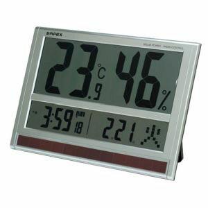【EMPEX】ジャンボソーラー温湿度計 電波時計 超大型液晶 太陽電池 室内用 置掛兼用 ソーラー TD-8170