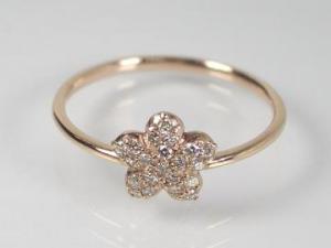 K10PG ピンクゴールドダイヤモンド フラワー リング10P18Jun16【楽ギフ_包装】