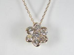 K18PG ピンクゴールドダイヤモンド フラワー ペンダント ネックレス10P03Dec16【楽ギフ_包装】