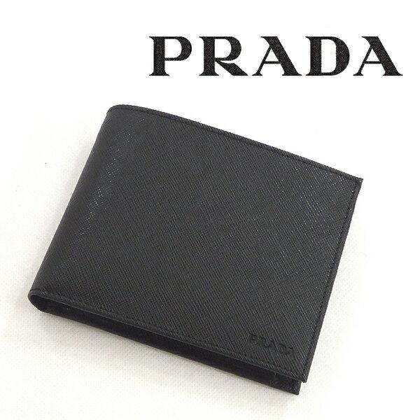[プラダ]PRADA 二つ折り財布(小銭入れ付き) P-030 【プラダサイフ プラダ折財布 プラダ二つ折り財布 プラダ財布 ブラック 型押し レザー】【あす楽対応_関東】