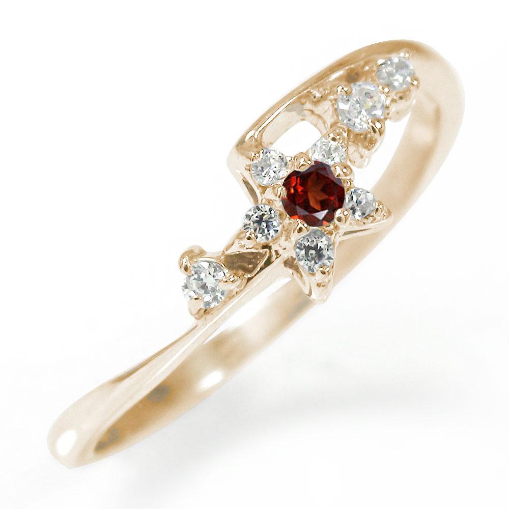 流れ星 10金 ガーネット ダイヤモンド 誕生石 ピンキーリング 指輪【送料無料】