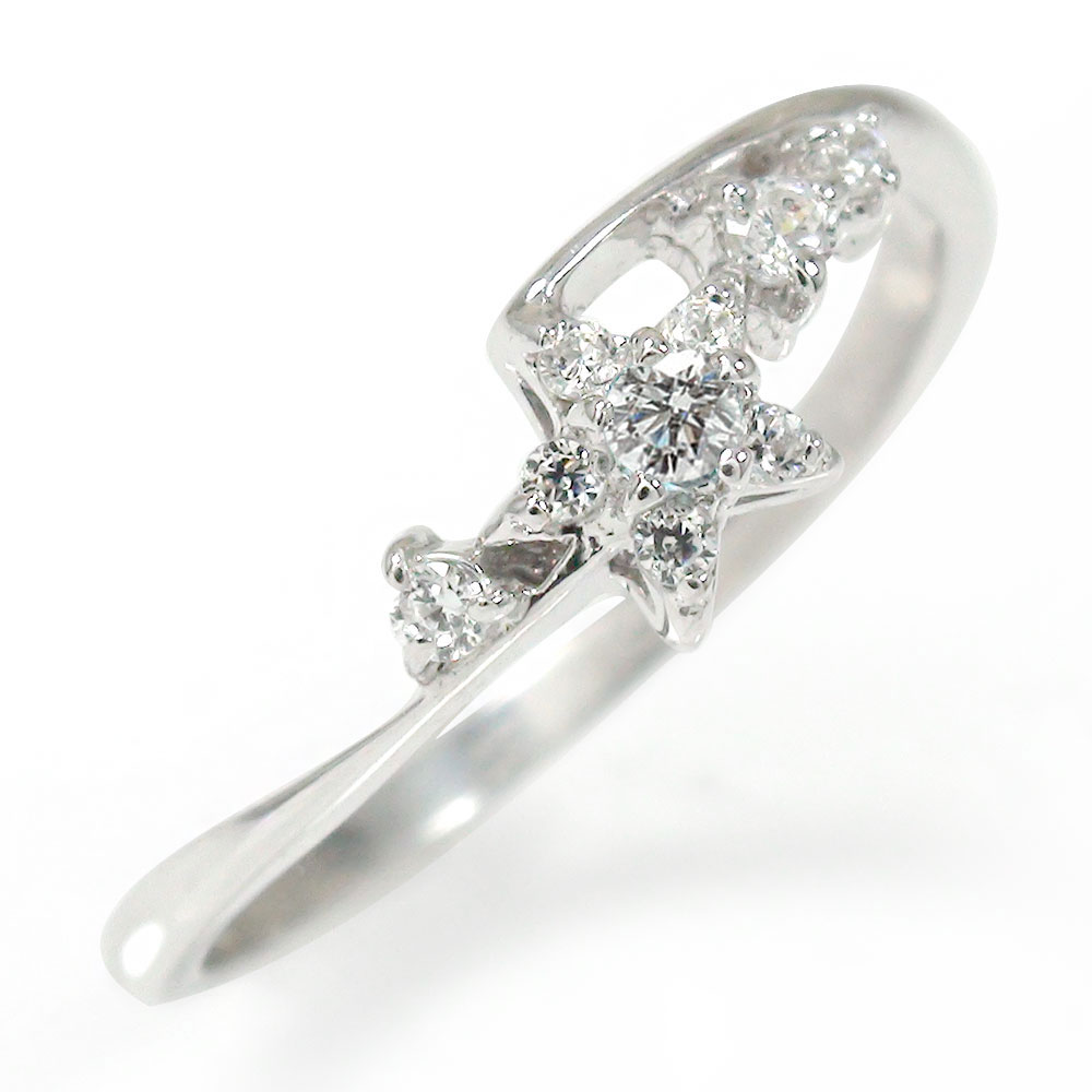 ★春最先端★ ダイヤモンド リング プラチナ 流れ星 ピンキー 指輪 誕生石【送料無料】
