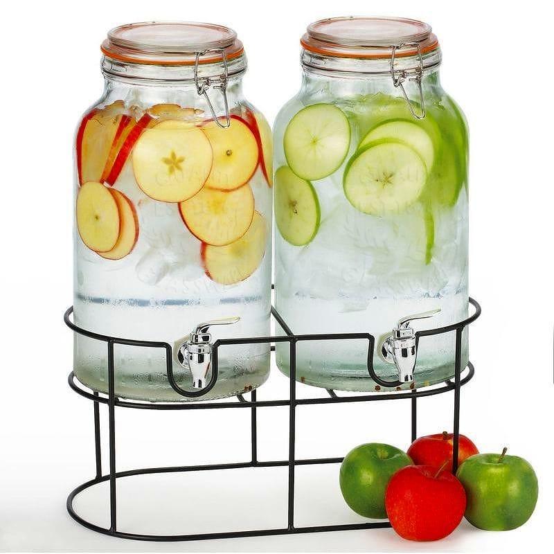 シンプルフロー ダブル メイソンジャー ガラス ドリンク ビバレッジディスペンサー 5.6LSimple Flow - Double Mason Jar Glass Drink Beverage Dispenser - 1.5 gallons each