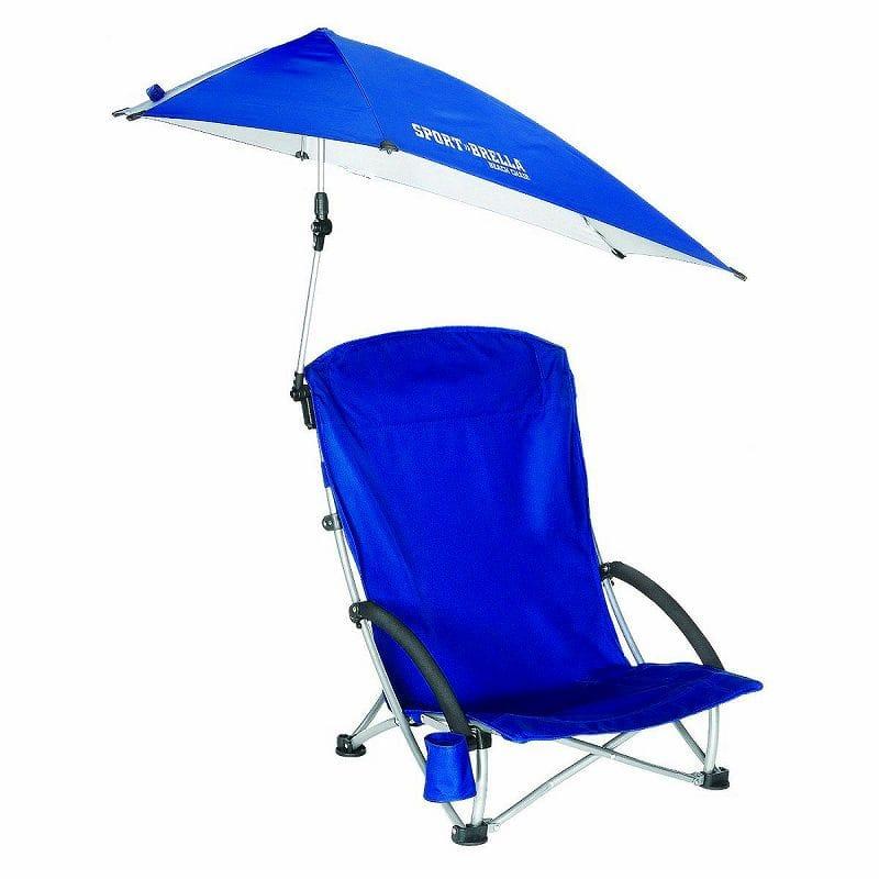 日傘付折り畳み椅子 日焼け対策 ビーチ チェアSport-Brella Beach Chair