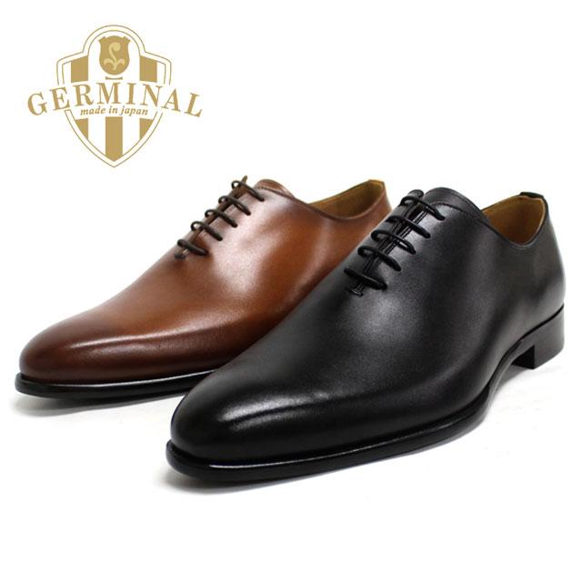 ■■ GERMINAL ジェルミナル 8516 一枚革 ホールカット プレーン  革靴 メンズ  ラバーソール 【全2色】