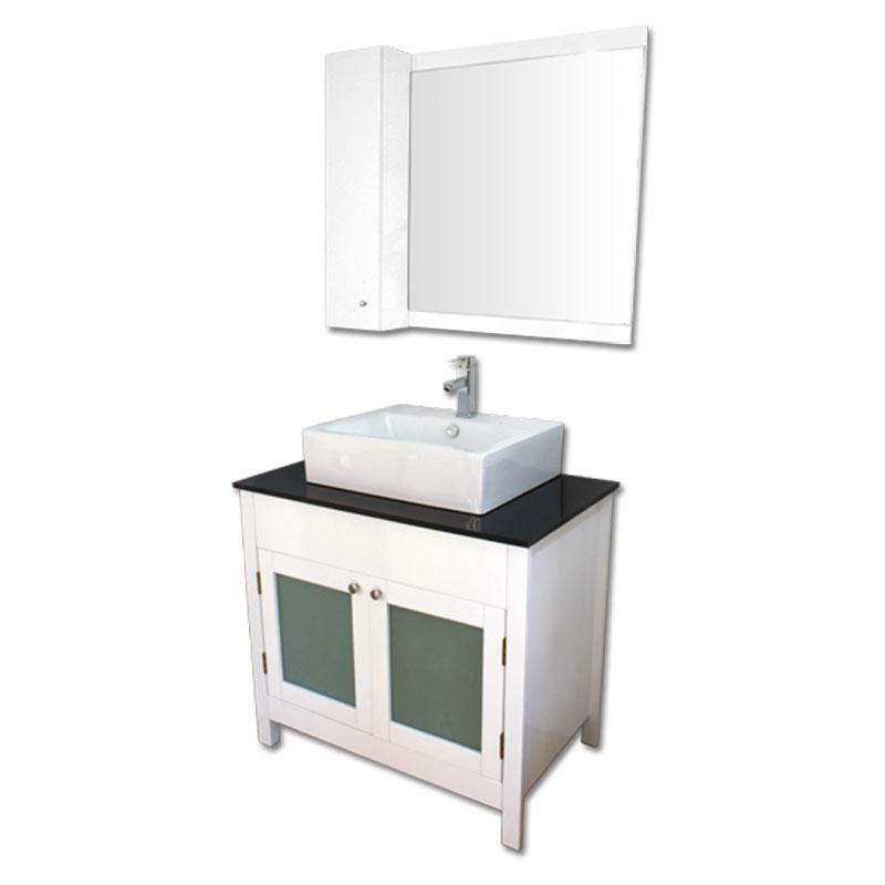 900mm幅白いピアノ塗装洗面台とガラスカウンターと洗面ボール水栓セットとミラーとサイド収納 Ambest WP959D 洗面ボウル/洗面化粧台/収納/洗面台/手洗い鉢