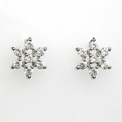 K18WG天然ダイヤピアスダイヤモンドトータル0.24ct【ダイヤモンド】【雪の結晶】【ピアス】【スノーモチーフ】【送料無料】