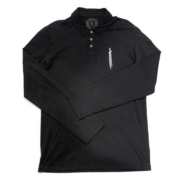 クロムハーツ(Chrome Hearts)ポロシャツ・GRP Y メンズ ロングスリーブ ポロ V3 ブラック BSフレアボタン 【USサイズ:M】