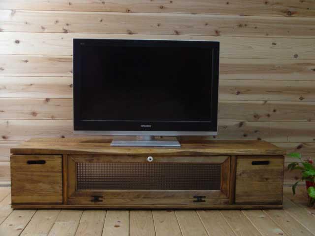 アンティークブラウン チェッカーガラスのBOX付きテレビ台(W137×D40×H31.5cm) 受注製作