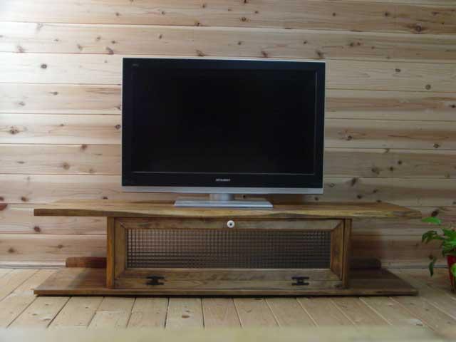 アンティークブラウン チェッカーガラスのテレビ台(W137×D40×H31.5cm) 受注製作