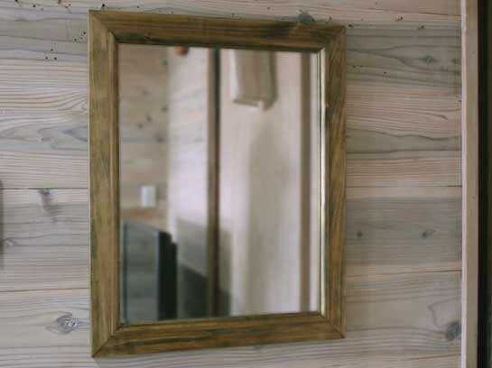 アンティークブラウン 木製ミラー(40×50cm) 受注製作