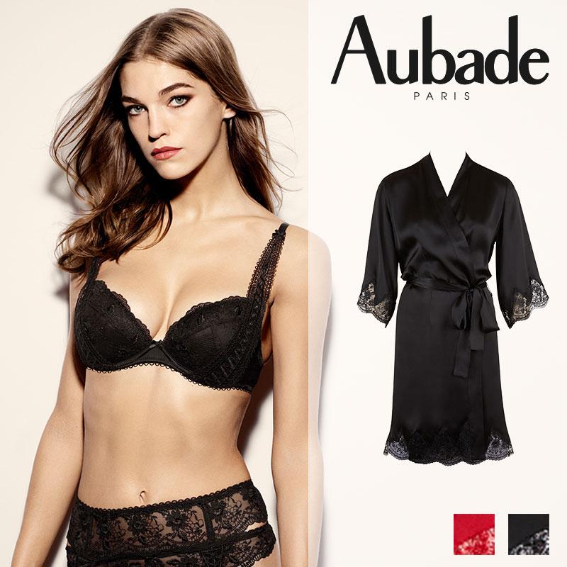 【30%OFF】フランス【Aubade】オーバドゥRive Gauche Passion(リヴゴーシュパッション)キモノローブ Blackカラー(ED65)
