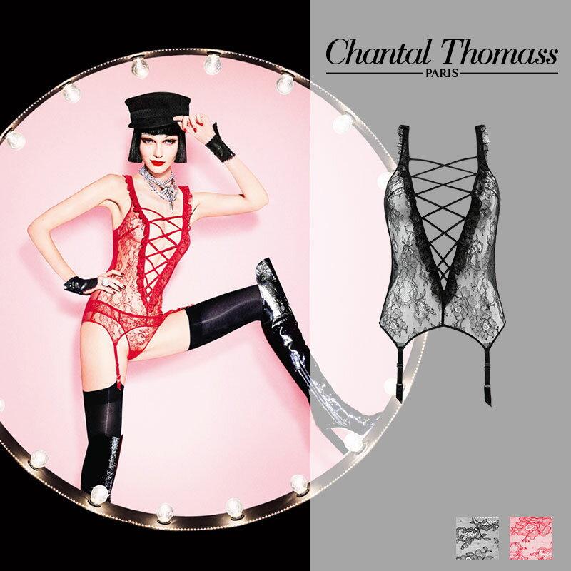 フランス【ChantalThomass】シャンタルトーマスTentation ガーター付レースアップボディ Blackカラー(T09040)