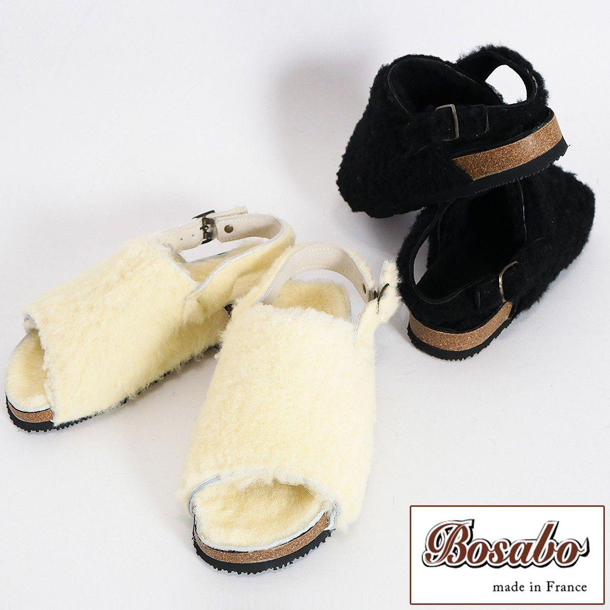 BOSABO ボサボ 379-W-288 ムートンサンダル ブラック ホワイト | 羊 ファー ムートン サンダル 17AW/新作/送料無料