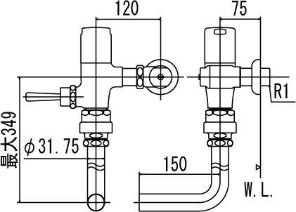 LIXIL INAX フラッシュバルブ 洗浄水量6-8L用 節水形 CF-60R7J