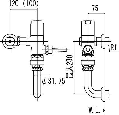 LIXIL   INAX フラッシュバルブ  洗浄水量10-15L用 節水形  CF-510SK7(100)